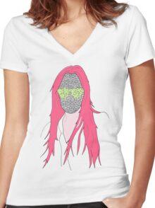 mistery mask girl Women's Fitted V-Neck T-Shirt