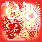 Red Floral Colour Splash Cushion Version 2 (see description) by Ra12