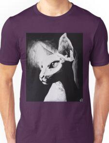 Sphynx Cat Feline Black & White Painting Art Unisex T-Shirt