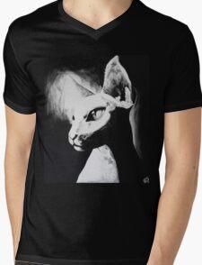 Sphynx Cat Feline Black & White Painting Art Mens V-Neck T-Shirt