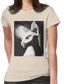 Sphynx Cat Feline Black & White Painting Art Womens Fitted T-Shirt