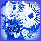 Bursting Blue Colour Splash Floral Cushions Version 2 (see description) by Ra12