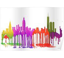 New York City, New York skyline - Puddles Poster