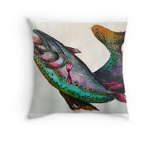 Rainbow Trout Watercolour Print Throw Pillow