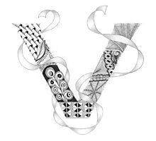 Zentangle®-Inspired Art - Tangled Alphabet - V Photographic Print