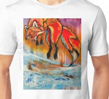 Leaping Red Fox Acrylic Painting Artwork  Unisex T-Shirt