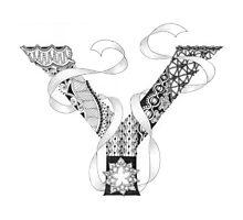 Zentangle®-Inspired Art - Tangled Alphabet - Y Photographic Print