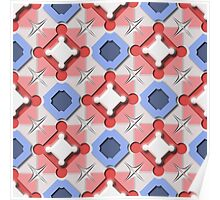Blue and Red 3D Geometric Pieces Checkerboard Poster