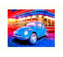 Classic VW Bug Beneath Neon Lights Art Print