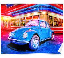 Classic VW Bug Beneath Neon Lights Poster