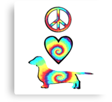 Peace Love Dachshunds Canvas Print