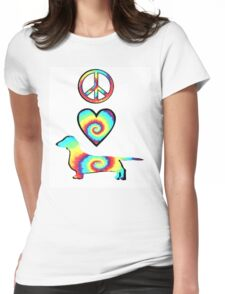 Peace Love Dachshunds Womens Fitted T-Shirt