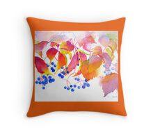 Autumn Colors Watercolor Throw Pillow (Orange Border) Throw Pillow