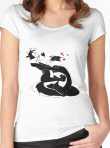Pepe Le Pew and Penelope Love Women's Fitted Scoop T-Shirt