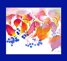 Autumn Colors Watercolor Throw Pillow (Deep Blue Border) by Pat Yager