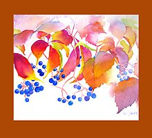 Autumn Colors Watercolor Throw Pillow (Rust Border) by Pat Yager