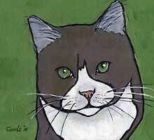 Gray Cat Against Green by Carole Chapla