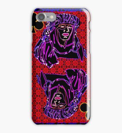 Neon Queen of Clubs iPhone Case/Skin