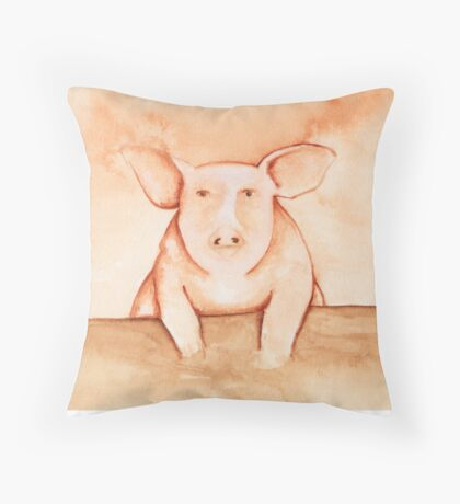 Pig in Watercolor Throw Pillow