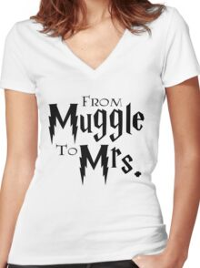 From Muggle To Mrs. Women's Fitted V-Neck T-Shirt
