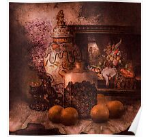 Still Life with Blackberries and Oranges and lilacs Poster