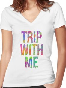 TRIP WITH ME Women's Fitted V-Neck T-Shirt