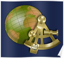 Vintage Globe and Sextant Poster