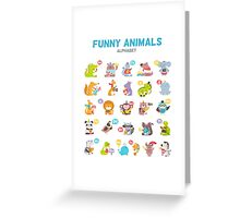 "Alphabet ""Funny animals"" for children's Greeting Card"
