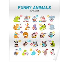 "Alphabet ""Funny animals"" for children's Poster"