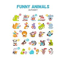 "Alphabet ""Funny animals"" for children's Photographic Print"