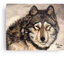 Painted Timber Wolf Artwork  Metal Print