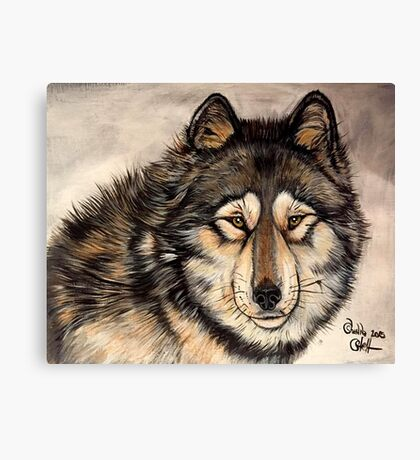 Painted Timber Wolf Artwork  Canvas Print