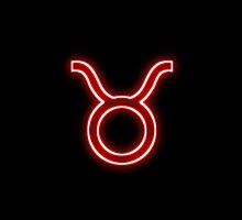 Bright Red Neon - Taurus the Bull Star Sign by podartist