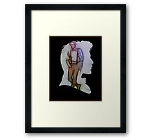 The Eleventh Doctor Silhouette with pencil sketch Framed Print