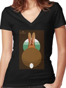 rabbit in a burrow  Women's Fitted V-Neck T-Shirt