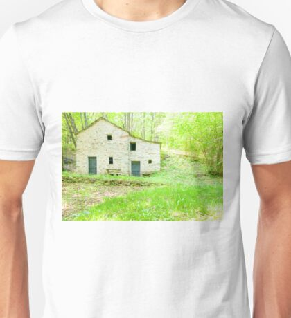 Old stone cottage in forest. Unisex T-Shirt