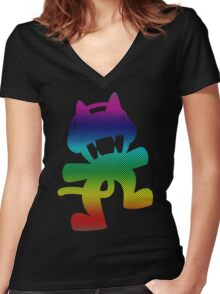 Our favourite EDM pet :`D Women's Fitted V-Neck T-Shirt