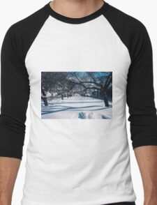 NYC Park in the Snow Men's Baseball ¾ T-Shirt