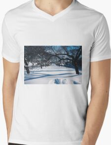 NYC Park in the Snow Mens V-Neck T-Shirt
