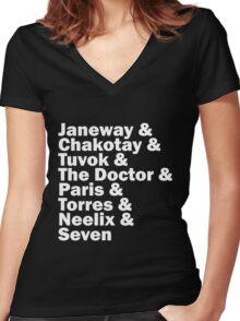 Star Trek Voyager Crew Women's Fitted V-Neck T-Shirt