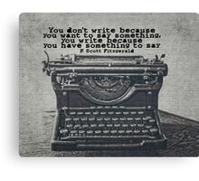 Writing According to Fitzgerald Canvas Print