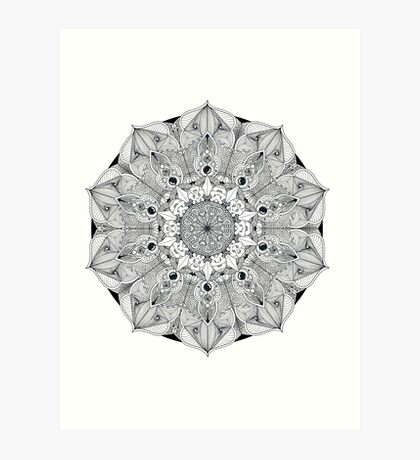 Black and white Mandala Art Print