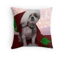 Santa Shih Tzu Puppy Throw Pillow