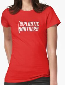 The Plastic Shatners Logo - White on Black Womens Fitted T-Shirt