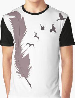 Feather Bird Design Graphic T-Shirt