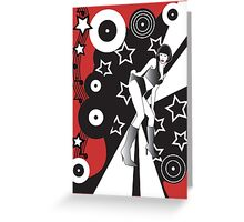 Retro Glam Discotheque Red Greeting Card