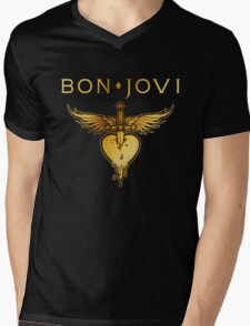 BEST BON JOVI LOGO SWORD HEART Mens V-Neck T-Shirt