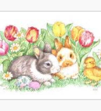 Bunnies and Chick Sticker