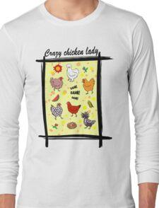 Cute seamless chickens pattern cartoon Long Sleeve T-Shirt