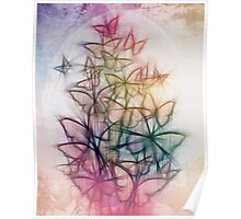 Rainbow Colored Butterfly Sketch Drawing Poster